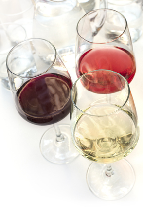 Three glasses of wine on white background with copyspace 写真素材