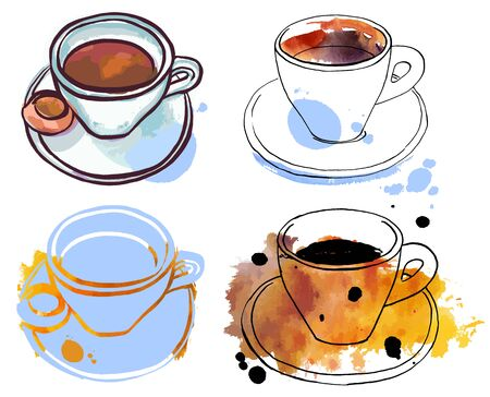 Set of freehand vector and watercolour coffee drawings