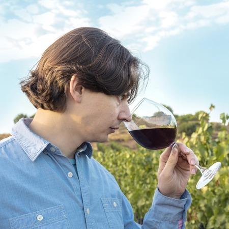 Winemaker tasting his wine in vineyard