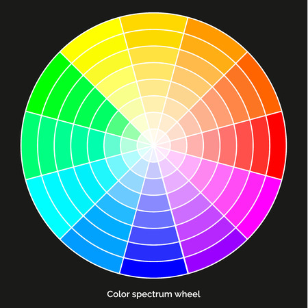 Vector color spectrum, RBG palette, on black background