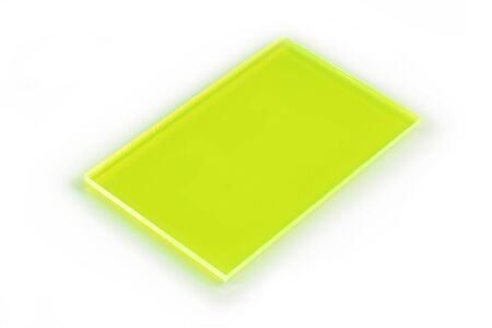 semitransparent: Vibrant green translucid metacrilate business card on white