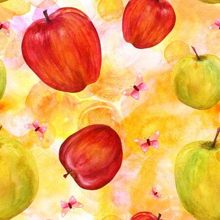 golden apple: Seamless pattern with watercolor apples and butterflies on golde Stock Photo
