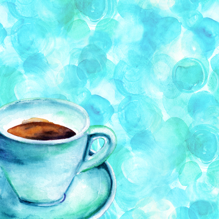 Watercolour card with coffee cup drawing and copyspace Stock Photo