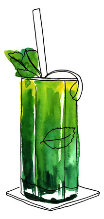 Vector and watercolor drawing of mojito cocktail