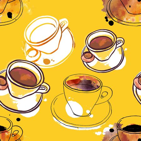 Seamless pattern of vector and watercolour coffee drawings