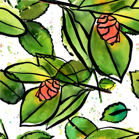 Seamless vector pattern with watercolor camellia buds and green