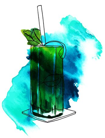 Vector and watercolor drawing of mojito cocktail with texture Illustration