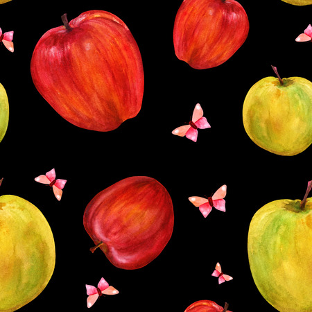 golden apple: Seamless pattern with watercolor apples and butterflies on black