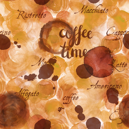 Coffee Time seamless background texture, toned Stock Photo