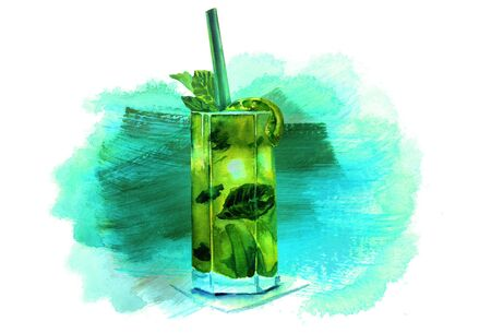 Watercolor mojito cocktail with teal texture and copyspace