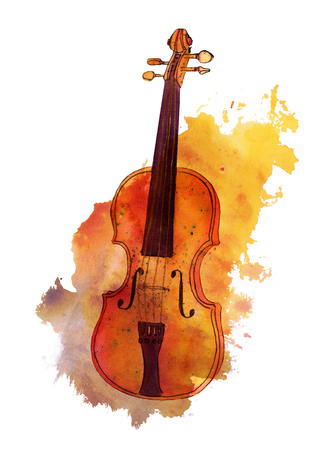 Watercolour drawing of violin on texture stain with copyspace
