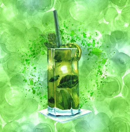 Watercolor mojito cocktail green teal texture and copyspace Stock Photo