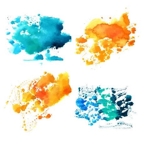 Ensemble de textures aquarelle bleu sarcelle et jaune d'or Banque d'images - 73698355