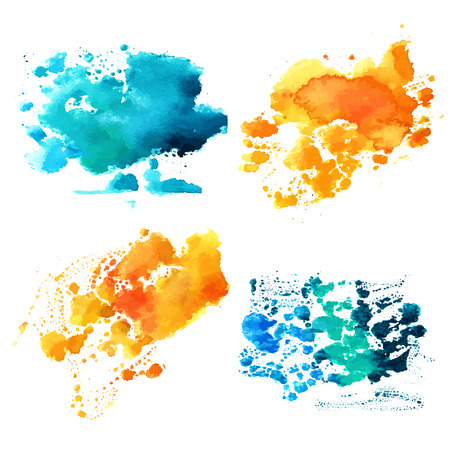 Set of teal blue and golden yellow watercolor textures