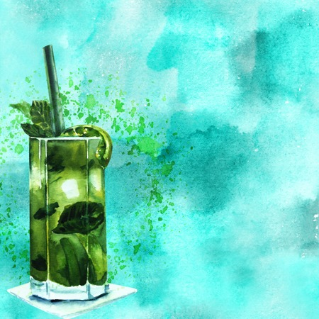 rum: Watercolor mojito cocktail on teal texture with copyspace Stock Photo