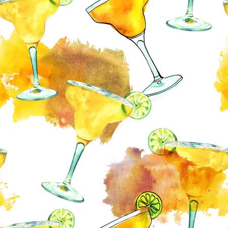 margaritas: Seamless pattern with watercolour drawings of Margarita cocktail Stock Photo