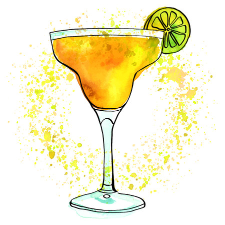 Vector and watercolour Margarita cocktail with texture on white Illustration