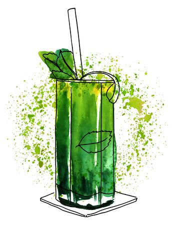 Vector watercolor mojito cocktail with texture and copyspace