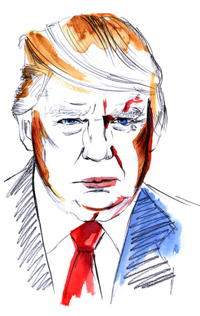 Madrid, Spain - March 17, 2017: a watercolour and pencil portrait of Donald Trump, American president. Hand drawn watercolor illustration on white background Editorial