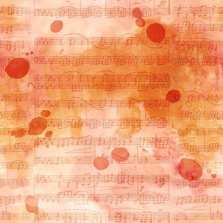 Seamless toned pattern with sheet music and ink stains Stock Photo