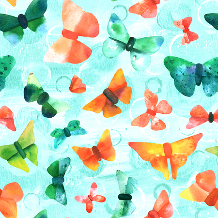 Seamless pattern with watercolor butterflies on teal Stock Photo