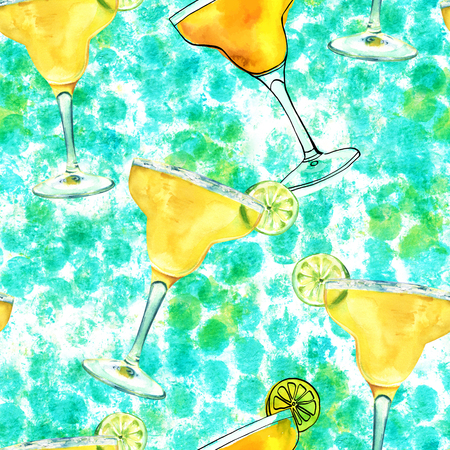 Seamless pattern, watercolour Margarita cocktails on teal dots Stock Photo