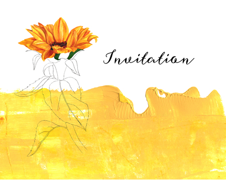 copy text: Watercolor sunflower on golden texture with copyspace