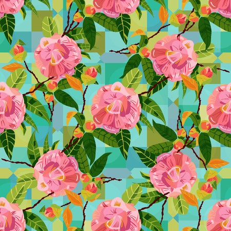 dusty: Seamless pattern with pink camellias on teal blue geometric shapes