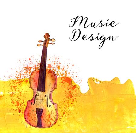 Copyspace とゴールデンのテクスチャに水彩ヴァイオリン