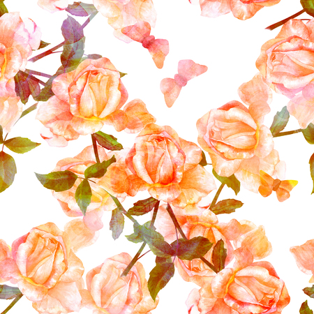 Seamless pattern with watercolor rose and butterfly, golden tone