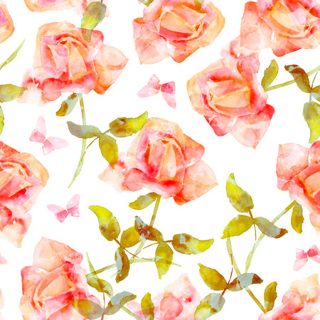 Seamless pattern with watercolor pink roses and butterflies Stock Photo