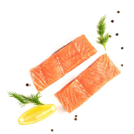 lemon wedge: Photo of slices of salmon on white with copyspace Stock Photo