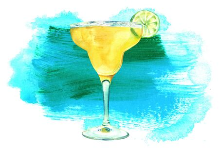 Watercolour Margarita cocktail with textured stain and copyspace