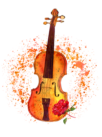 Watercolour and ink violin and rose drawing with painterly textu Stock Photo