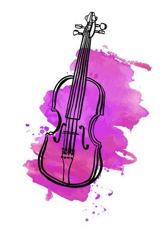 Pen and ink drawing of vintage violin with watercolor stain Illustration