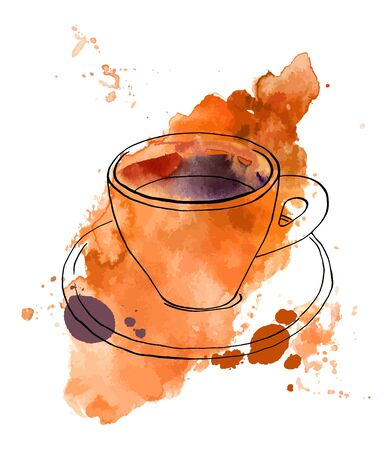 Vector and watercolour drawing of coffee with texture