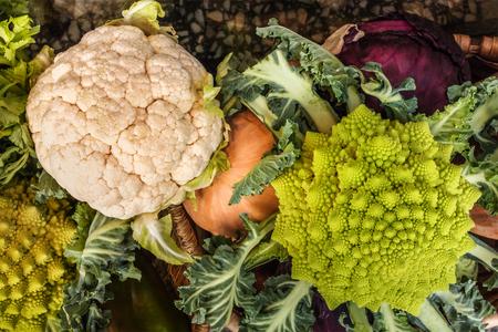 Fresh vegetables including cauliflower and romanesco broccoli Stock Photo
