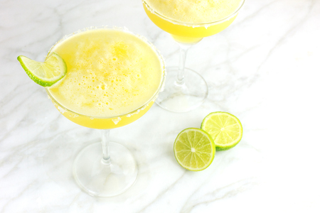 Lemon Margarita cocktails with a place for text Stock Photo