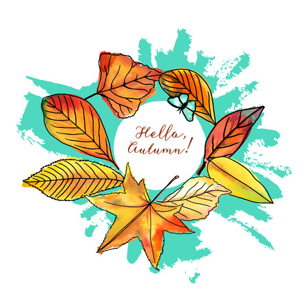 Hello, Autumn vector design with fall leaves and butterfly Illustration