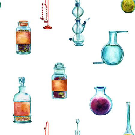 objec: Vintage Science watercolor seamless pattern with chemistry objec
