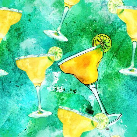 원활한 패턴, 파란색 녹색 수채화 마가리타 칵테일 스톡 콘텐츠