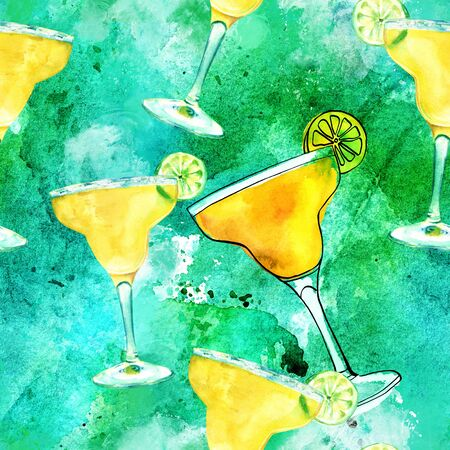 Seamless pattern, watercolour Margarita cocktails on blue green
