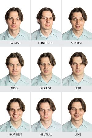 Full chart of universal human microexpressions with names