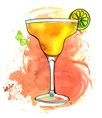 Vector and watercolour Margarita with butterfly and texture.
