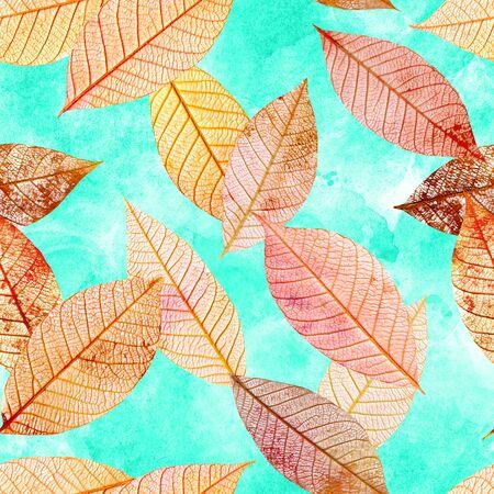 Seamless pattern of golden skeleton leaves on teal