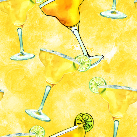 Seamless pattern, watercolour drawings of Margarita cocktails on