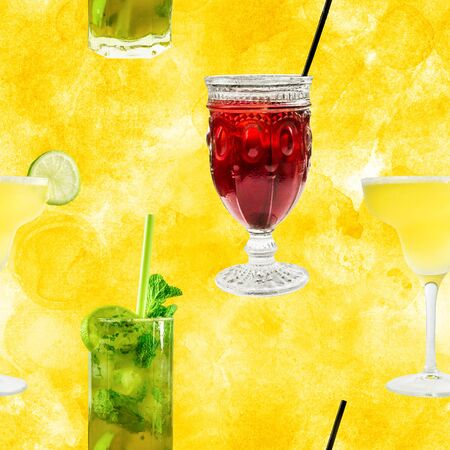 lemon wedge: Seamless pattern of vibrant cocktails photos on golden