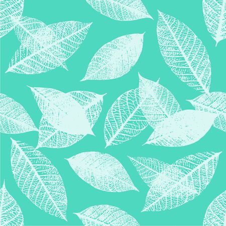 Seamless pattern of vector skeleton leaves in teal blue Illustration