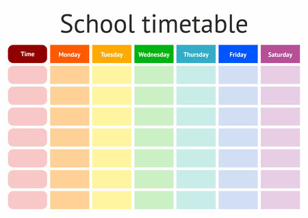 School Timetable, weekly curriculum design template, scalable ve