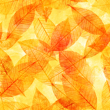 Seamless background pattern of golden tinted skeleton leaves